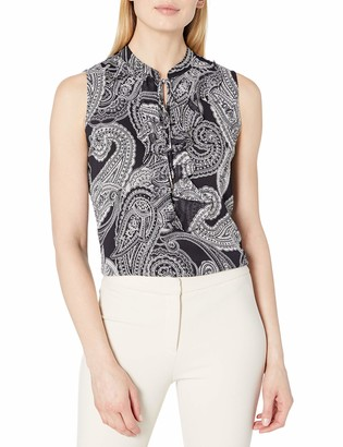 Tommy Hilfiger Women's Paisley Print Ruffle Front Tie Neck Sleeveless Woven Top
