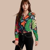 Burberry Floral Print Silk Shirt