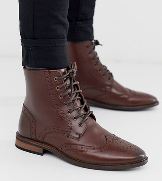 ASOS DESIGN Wide Fit brogue boots in brown leather with natural sole