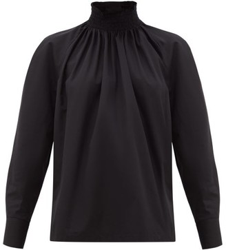 Prada High-neck Cotton-poplin Blouse - Black