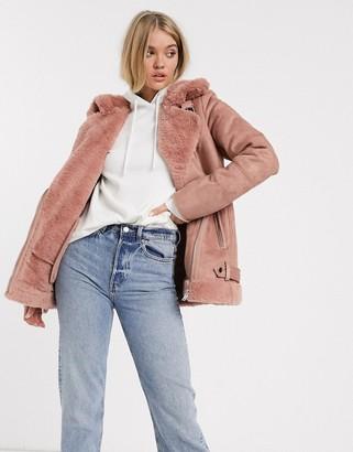 Stradivarius aviator jacket in pink