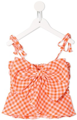 Little Bambah Gingham-Print Smocked Top