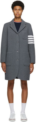 Thom Browne Grey Wool Links Stitch 4-Bar Coat