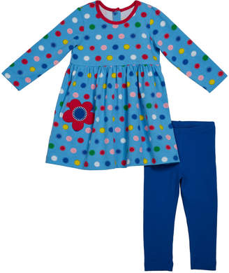 Florence Eiseman Girl's Multicolored Dot Print Dress w/ Solid Leggings, Size 6-24 Months