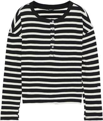 Monrow Printed Striped Cotton-jersey Top