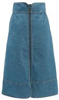 Sea Piper Zipped Denim Midi Skirt - Womens - Denim
