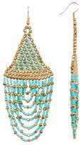 Cara Accessories Seed Bead Long Tassel Earrings