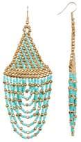 Cara Accessories Seed Bead Long Tassel Earrings