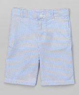 E-Land Kids Light Blue Seersucker Shorts - Boys