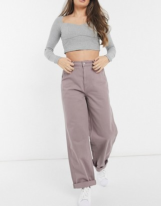 ASOS DESIGN slouchy chino pants in washed lilac