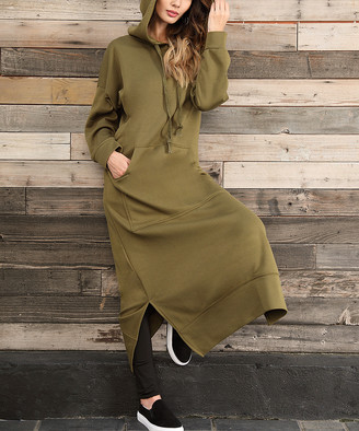 Z Avenue Women's Sweater Dresses Olive - Olive Kangaroo-Pocket Hooded Maxi Dress - Women & Plus