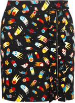 Love Moschino Printed cotton-blend twill mini skirt
