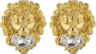 Gucci Lion head earrings with crystal