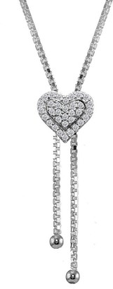 Icz Stonez Sterling Silver Cubic Zirconia Heart Halo Drop Adjustable Lariat Necklace