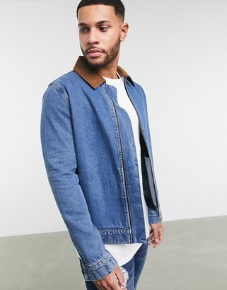 ASOS DESIGN denim jacket with faux suede collar in mid wash blue