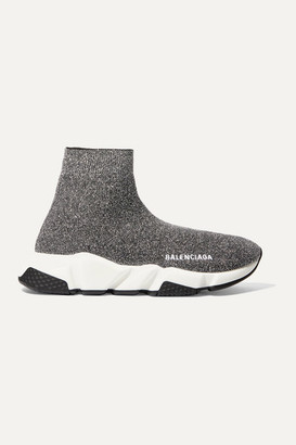 Balenciaga Speed Logo-print Metallic Stretch-knit High-top Sneakers - Gray
