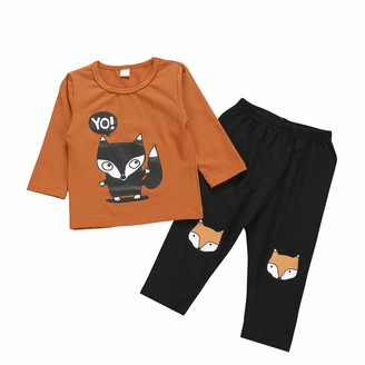 Borlai 2Pcs Kids Girls Fox Outfits Long Sleeve Cartoon Pullover Top+Print Sweatpants