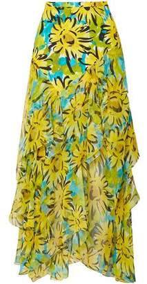 Michael Kors Ruffled Floral-print Silk-chiffon Midi Skirt