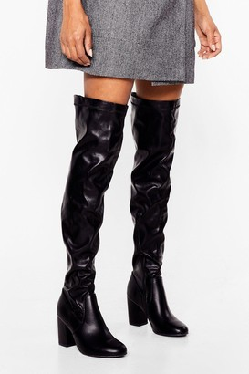 Nasty Gal Womens It's Over-the-Knee Faux Leather Wide Fit Boots - Black - 3
