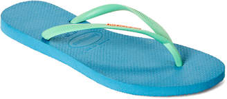 Havaianas Blue Splash Slim Logo Pop Up Flip Flops