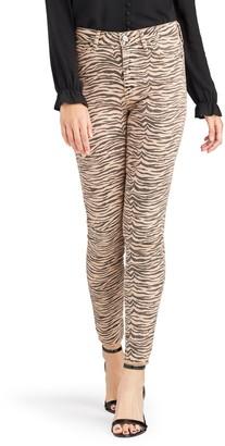 Sam Edelman Stiletto Zebra Print Raw Hem Ankle Skinny Jeans