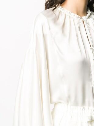 Maison Rabih Kayrouz Lace-Up Long-Sleeve Blouse