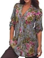 Susenstone Women Vintage Floral Print V-neck Tunic Tops Women's Fashion Plus Size Tops Spring (XXL)