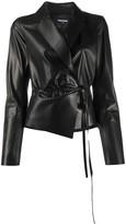 DSQUARED2 tie-waist leather jacket
