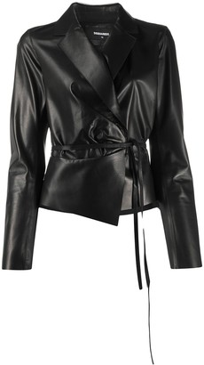 DSQUARED2 tie-waist leather jacket