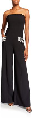 Black Halo Carmine Strapless Wide-Leg Jumpsuit w/ Leopard Pockets