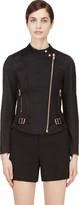 Veronique Branquinho Black and Copper Twill Quilted Biker Jacket