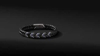 David Yurman Chevron Narrow Woven Bracelet In Black Titanium With