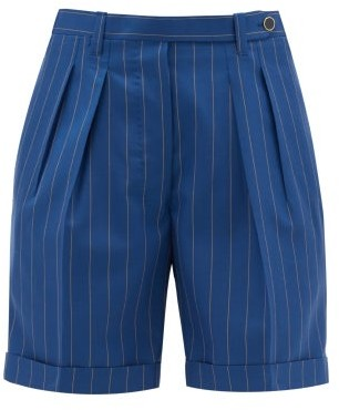 Giuliva Heritage Collection The Husband Pleated Pinstriped Wool Shorts - Blue Stripe