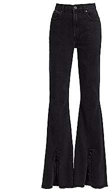 7 For All Mankind Women's High-Rise Exaggerated Kick Flare Slit-Hem Jeans