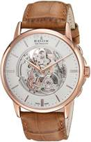 Edox Men's 'Les Bemonts' Swiss Automatic Stainless Steel and Leather Dress Watch, Color: (Model: 85300 37R AIR)