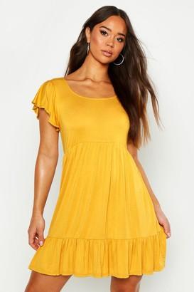 boohoo Jersey Frill Hem Babydoll Dress