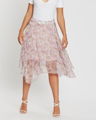 Missguided Frill Hem Floral Shimmer Midi Skirt