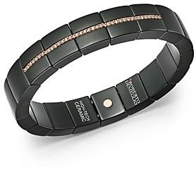 Roberto Demeglio 18K Rose Gold & Matte Black Ceramic Domino Luce Square Stretch Bracelet with Champagne Diamonds