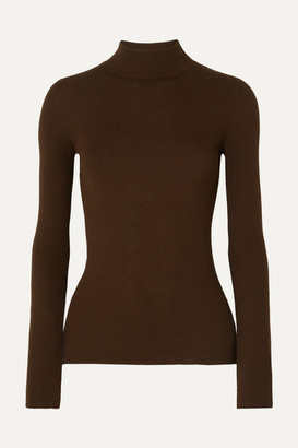 The Row Sulli Ribbed Silk And Cotton-blend Turtleneck Sweater - Brown