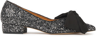 Ganni Bow-detailed Glittered Leather Point-toe Flats