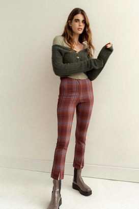 Urban Outfitters Tessa Plaid Notched Cropped Pant