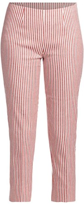Piazza Sempione Audrey Striped Linen-Blend Cropped Pants