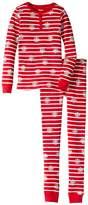 Hatley Candy Cane Stripes Waffle Henley PJ Set (Toddler/Little Kids/Big Kids)