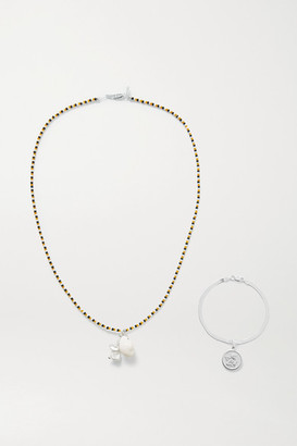 Santangelo Glory's Forever Convertible Silver, Pearl, Shell And Bead Body Chain - one size