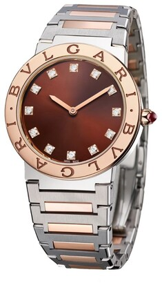 Bvlgari Rose Gold, Stainless Steel and Diamond Lady Watch 33mm