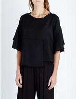 Drifter Lillian panelled silk and wool-blend top