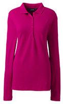 Lands' End Women's Tall Pique Polo Shirt-Brilliant Fuchsia