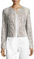 Elie Tahari Janet Lace-Up Python-Print Leather Jacket