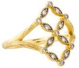 Jude Frances 18K Diamond Lisse Double Open Flower Ring
