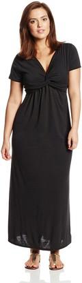 Star Vixen Women's Plus-Size Short Sleeve Twist Front Maxi Dress